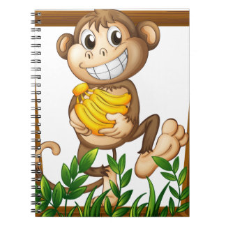 Monkey and banana spiral notebook