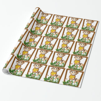 Monkey and banana wrapping paper