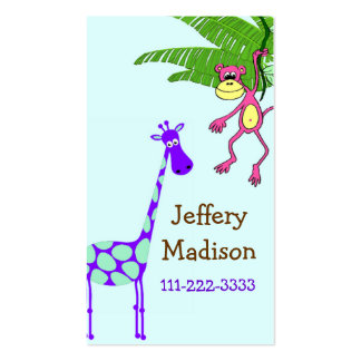 Monkey and Giraffe Kid's Safety Card Business Card