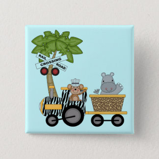 Monkey and Hippo Train Tshirts and Gifts 15 Cm Square Badge