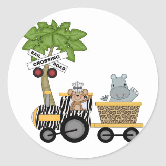 Monkey and Hippo Train Tshirts and Gifts Classic Round Sticker