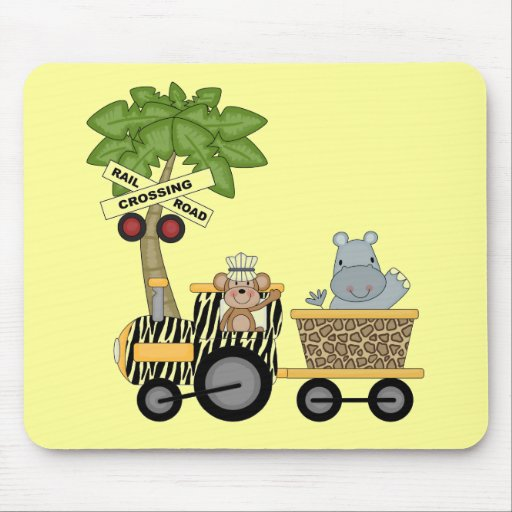Monkey and Hippo Train Tshirts and Gifts Mouse Pads