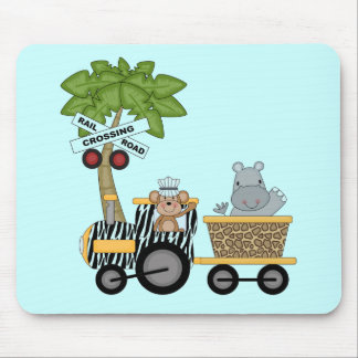 Monkey and Hippo Train Tshirts and Gifts Mousepad