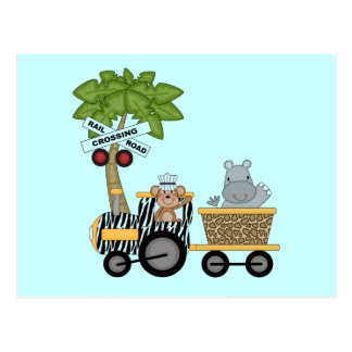 Monkey and Hippo Train Tshirts and Gifts Post Card