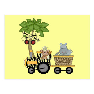 Monkey and Hippo Train Tshirts and Gifts Postcards