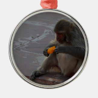 monkey and ice cream Silver-Colored round decoration