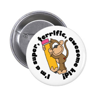 Monkey and Pencil Awesome Kid 6 Cm Round Badge