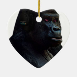 Monkey Ape Music Fun Ceramic Heart Decoration