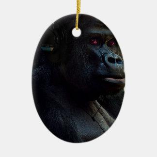 Monkey Ape Music Fun Ceramic Oval Decoration