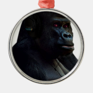Monkey Ape Music Fun Silver-Colored Round Decoration