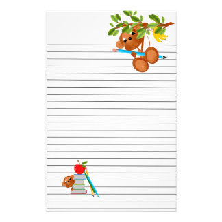 Monkey Apple Books and Pencils Stationery Paper
