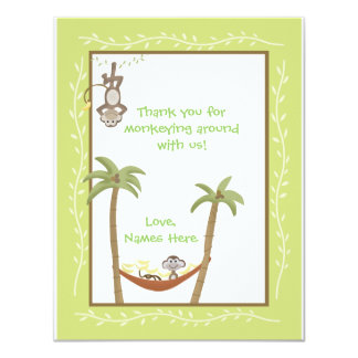 Monkey Around Baby Shower Thank you notes 11 Cm X 14 Cm Invitation Card