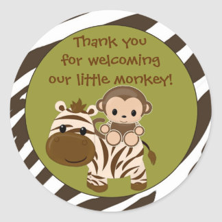 MONKEY Baby Shower blank label/seal Nali NJM#06A Classic Round Sticker