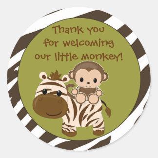MONKEY Baby Shower blank label/seal Nali NJM#06A Round Sticker