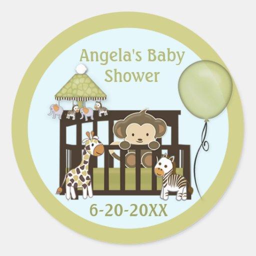 Monkey Baby Shower blank labels/seals CA-Blue #01 Stickers