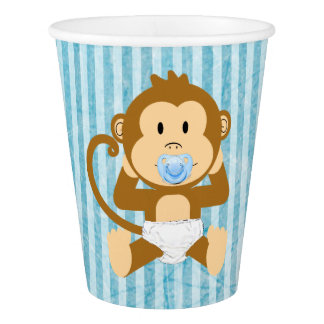 Monkey Baby Shower Blue Striped Party paper cups