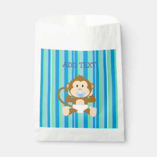 Monkey Baby Shower Blue Striped Party paper favor Favour Bags