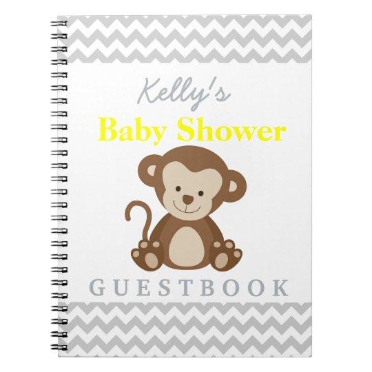 Monkey Baby Shower Chevron Custom Guest Book