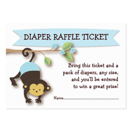 Collections of diaper raffle ticket business cards monkey baby shower diaper raffle ticket insert business card template pronofoot35fo Images