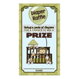 Monkey Baby Shower DIAPER RAFFLE TICKETS CA-Blue Pack Of Standard Business Cards