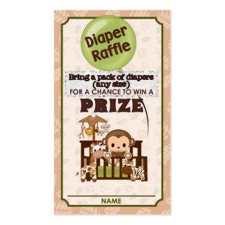 Monkey Baby Shower DIAPER RAFFLE TICKETS Nali NJM Pack Of Standard Business Cards