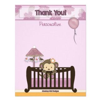 Monkey Baby Shower FLAT#1 Thank You ORCHID Custom Invite