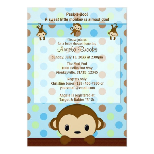 MONKEY Baby Shower invitation Polka Dot BLUE GREEN