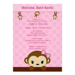 MONKEY Baby Shower invitation Polka Dot PINK GIRL