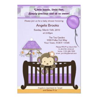 "Monkey Baby Shower Invitation Purple 5"" X 7"" Invitation Card"