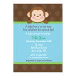 """Monkey Baby Shower Invitations Boy 5"""" X 7"""" Invitation Card"""