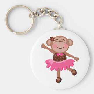 Monkey Ballerina Basic Round Button Key Ring