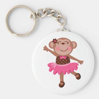 Monkey Ballerina Basic Round Button Key Ring