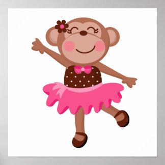 Monkey Ballerina Print