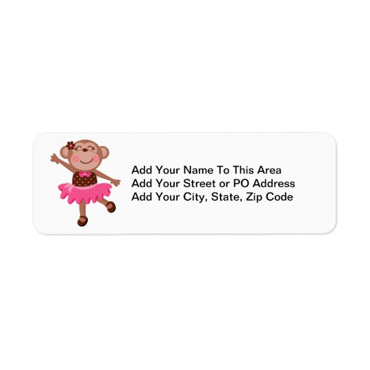 Monkey Ballerina Return Address Label