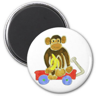 Monkey Banana on Wagon 6 Cm Round Magnet