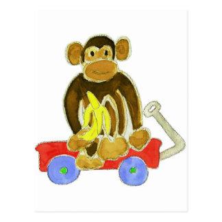Monkey Banana on Wagon Postcard