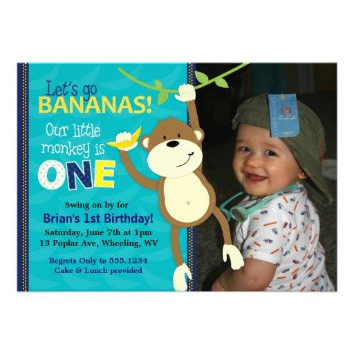 Monkey Bananas First Birthday Photo Invitations