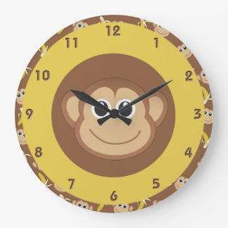 Monkey Bananas Large Clock
