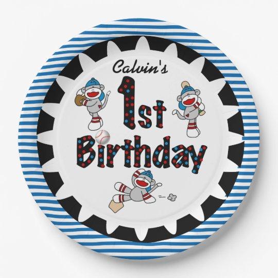 Monkey Baseball 1st Happy Birthday Paper Plates
