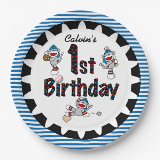 Monkey Baseball 1st Happy Birthday Paper Plates 9 Inch Paper Plate