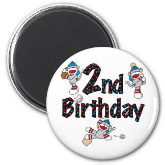 Monkey Baseball 2nd Birthday Tshirts and Gifts 6 Cm Round Magnet