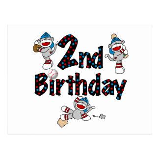 Monkey Baseball 2nd Birthday Tshirts and Gifts Postcard