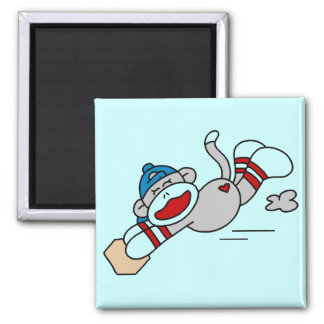 Monkey Baseball Diving into Base Tshirts and Gifts Square Magnet