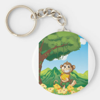 Monkey Basic Round Button Key Ring