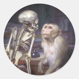 Monkey Before Skeleton Round Sticker