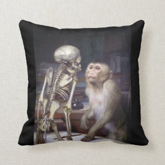 Monkey Before Skeleton Throw Pillow