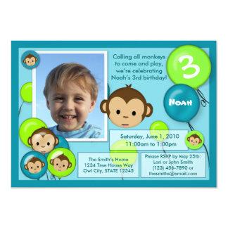 Monkey birthday invitation blue green (photo)