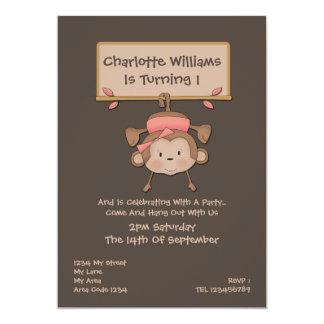 Monkey Birthday Party 13 Cm X 18 Cm Invitation Card