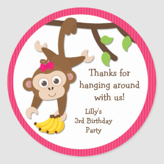 Monkey Birthday Party Thank You Stickers