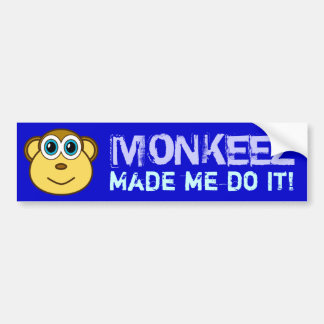 Monkey Bizness Face Design Bumper Sticker